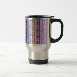 Zigzags y rayas púrpuras y sombras azules taza térmica