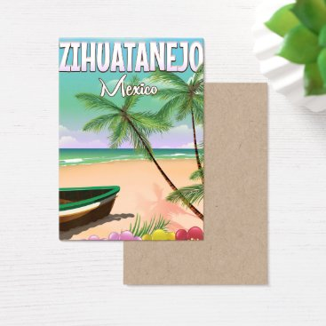 Beach Themed Zihuatanejo Mexican beach vacation poster Business Card