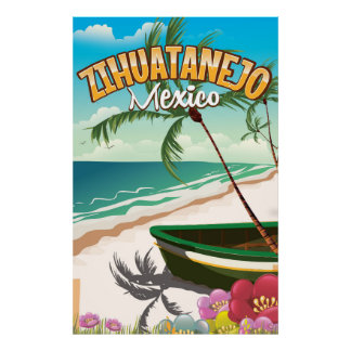 Zihuatanejo Mexican travel poster