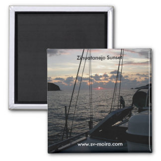 Zihuatanejo Sunset from Moira in anchorage 2 Inch Square Magnet