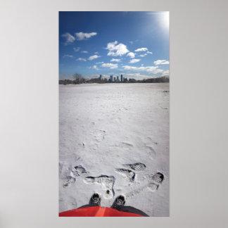 Zilker Park Snow - Austin Texas Downtown Skyline Print