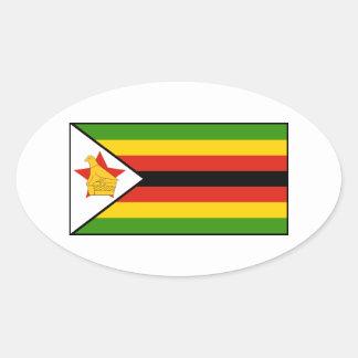 Zimbabwe - bandera zimbabuense pegatina ovalada