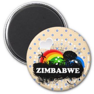Zimbabwe con sabor a fruta lindo imán redondo 5 cm