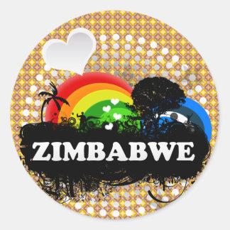 Zimbabwe con sabor a fruta lindo pegatina redonda