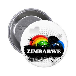 Zimbabwe con sabor a fruta lindo pin redondo de 2 pulgadas