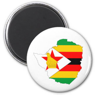 zimbabwe country flag map 2 inch round magnet