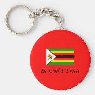Zimbabwe, en confianza de dios I Llavero Redondo Tipo Pin