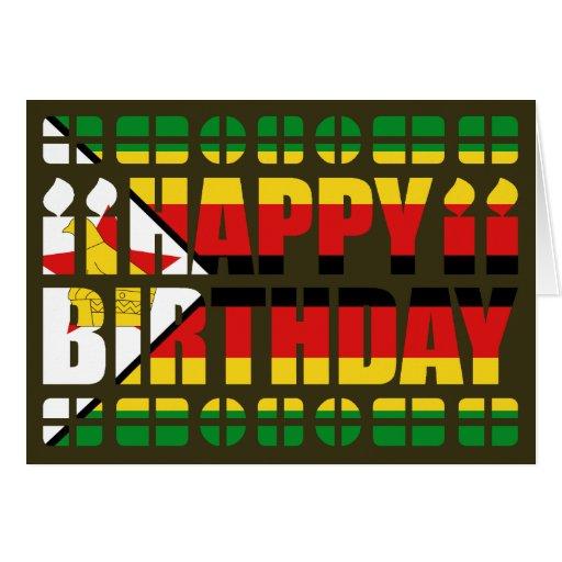 Zimbabwe Flag Birthday Card