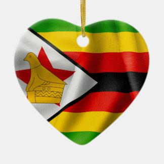 Zimbabwe Flag Ceramic Heart Decoration Ceramic Ornament