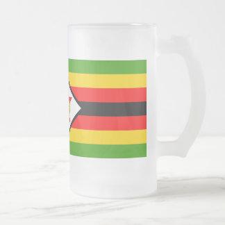 Zimbabwe Flag Frosted Glass Beer Mug