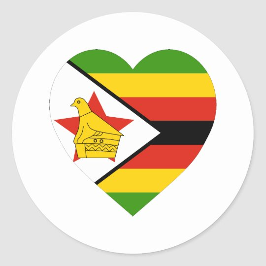 Zimbabwe flag heart classic round sticker