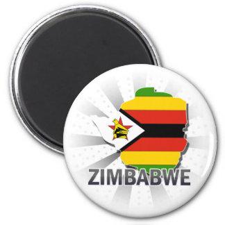 Zimbabwe Flag Map 2.0 Refrigerator Magnet