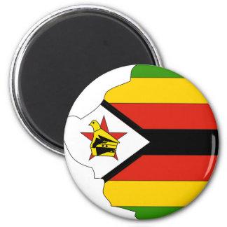 Zimbabwe flag map 2 inch round magnet