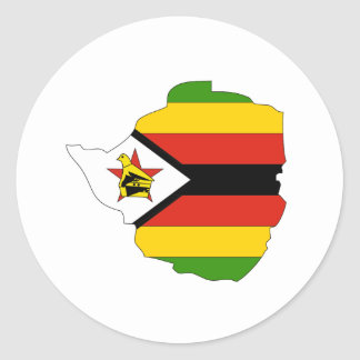 Zimbabwe flag map classic round sticker