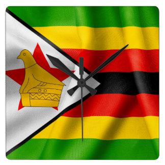 Zimbabwe Flag Square Wall Clock