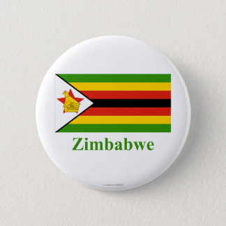 Zimbabwe Flag with Name Pinback Button