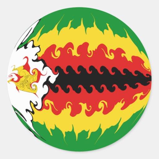 Zimbabwe Gnarly Flag Classic Round Sticker
