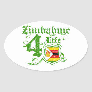 Zimbabwe para la vida pegatina ovalada