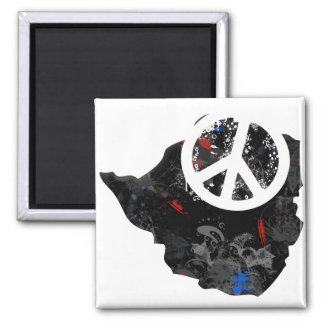 Zimbabwe Trendy Peace Sign with Zimbabwean map Magnet