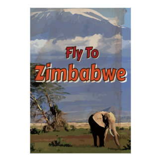 Zimbabwe Vintage vacation Poster