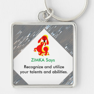"ZIMKA SAYS Large (2.00"") Premium Square Keychain"