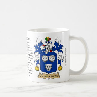 Zimmermann, the Origin, the Meaning and the Crest Coffee Mug