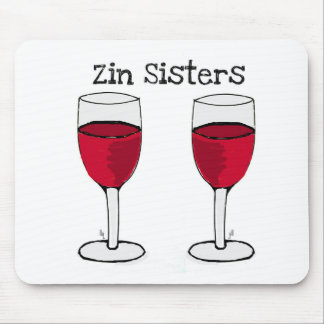 ZIN SISTERS TWIN WINE GLASS PRINT by jill Mouse Pad