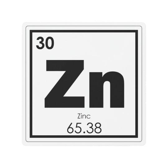 Zinc Chemical Element Symbol Chemistry Formula Gee Metal Print