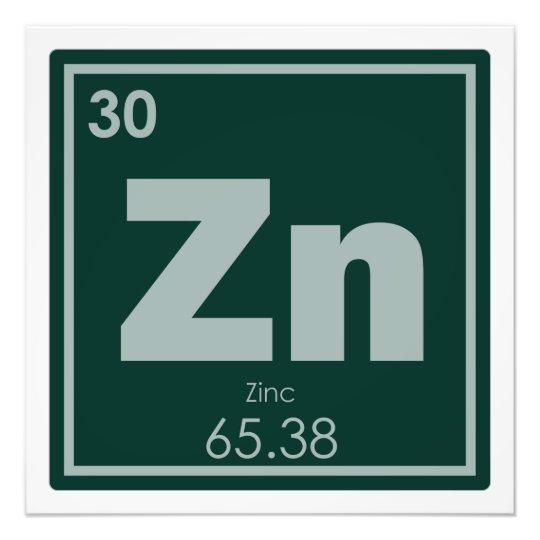 Zinc Chemical Element Symbol Chemistry Formula Gee Photo Print