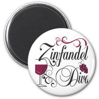 Zinfandel Wine Diva 2 Inch Round Magnet