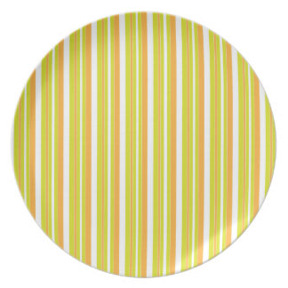 Zingy orange & green stripes colorful plate, gift melamine plate