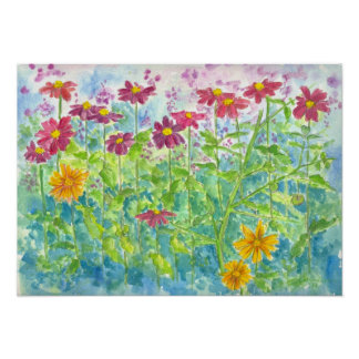 Zinnia and Daisy Garden Print