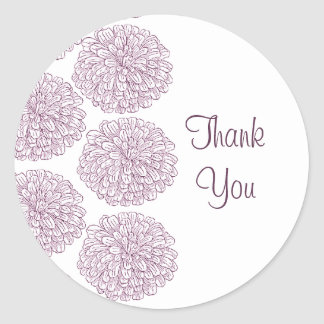 Zinnia Border Thank You Stickers, Purple Classic Round Sticker