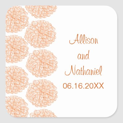 Zinnia Border Wedding Stickers, Tangerine Square Sticker