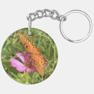 Zinnia & Butterfly Round Acrylic Keychain