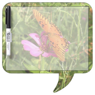 Zinnia & Butterfly Speech Bubble Dry Erase Dry-Erase Board