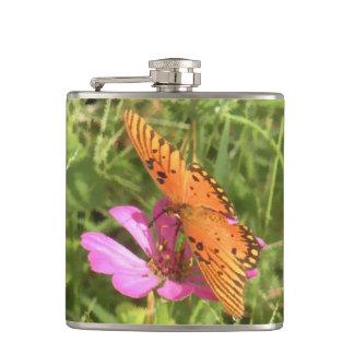 Zinnia & Butterfly Vinyl Wrap Flask
