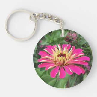 ZINNIA & DAHLIA - Vibrant Pink and Cream - Keychain