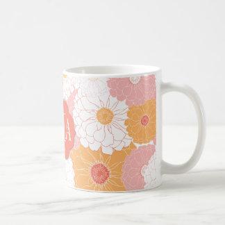 Zinnia del monograma tazas de café
