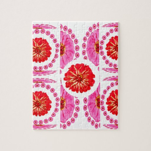 ZINNIA Flower Collage -  Pink Rose Colors Jigsaw Puzzles