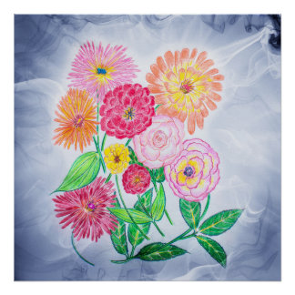 Zinnia Flower Drawing - Zinnias Blue Swirl Mist Poster