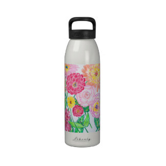 Zinnia Flower Mix Colored Pencil Drawing Drinking Bottles