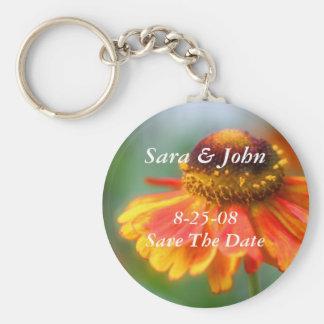 Zinnia Flower Save The Date Wedding Keychain