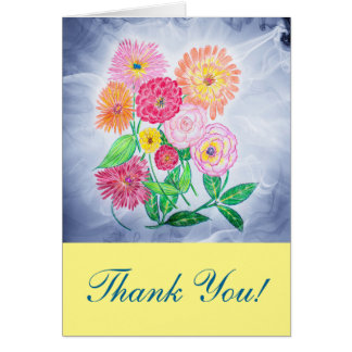 Zinnia Flower Thank You Greeting Card