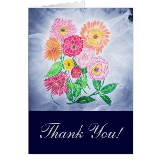 Zinnia Flower Thank You Greeting Cards