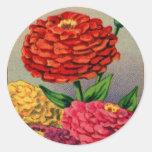 Zinnia francés Zinnas del paquete de la semilla Pegatina Redonda