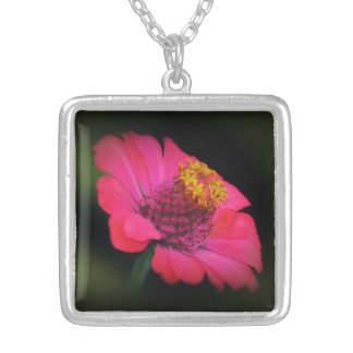 Zinnia Glow Square Pendant Necklace