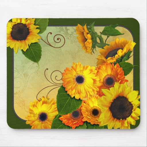 Zinnias and Sunflowers mouse pad