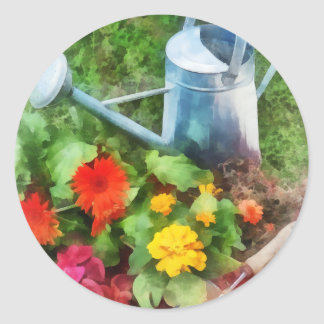 Zinnias and Watering Can Classic Round Sticker