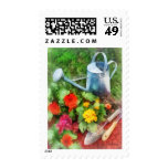 Zinnias and Watering Can Postage Stamps